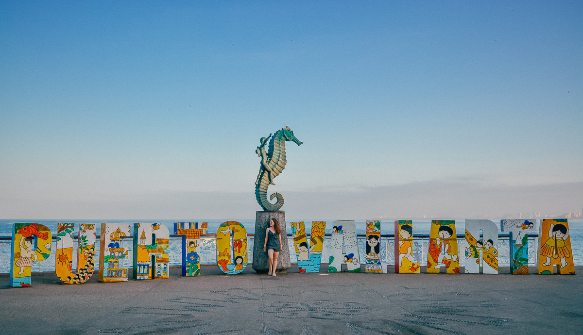 Visit Puerto Vallarta sign and seahorse on the Malecon