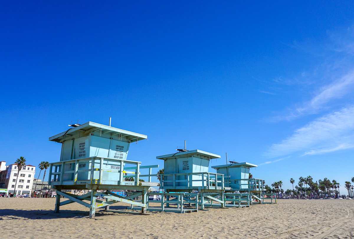 Lifeguard towers in Venice Beach, California