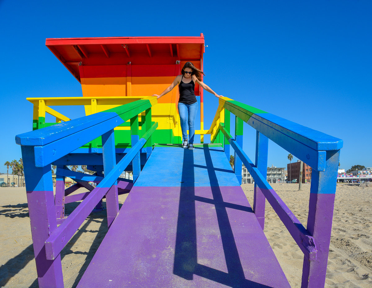 The Pride lifeguard tower in Venice Beach