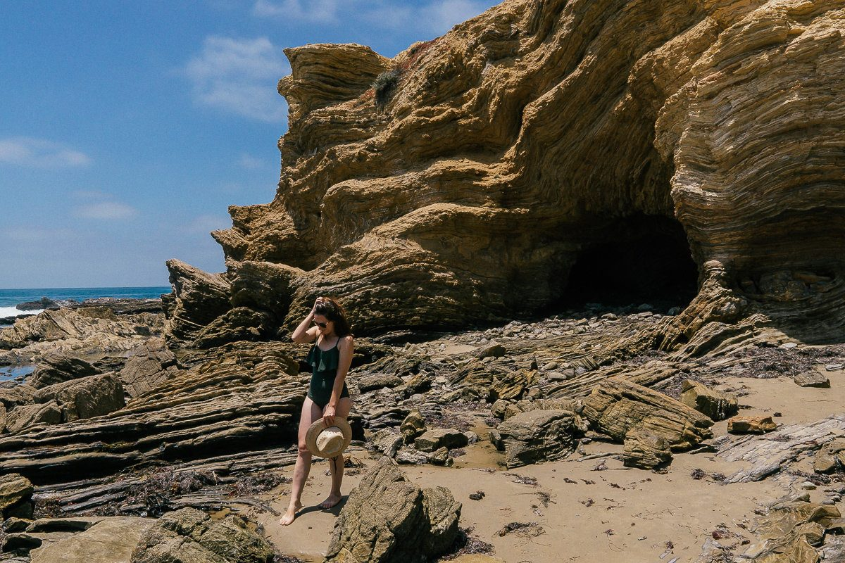 Rocky beach landscape in Crystal Cove State Park