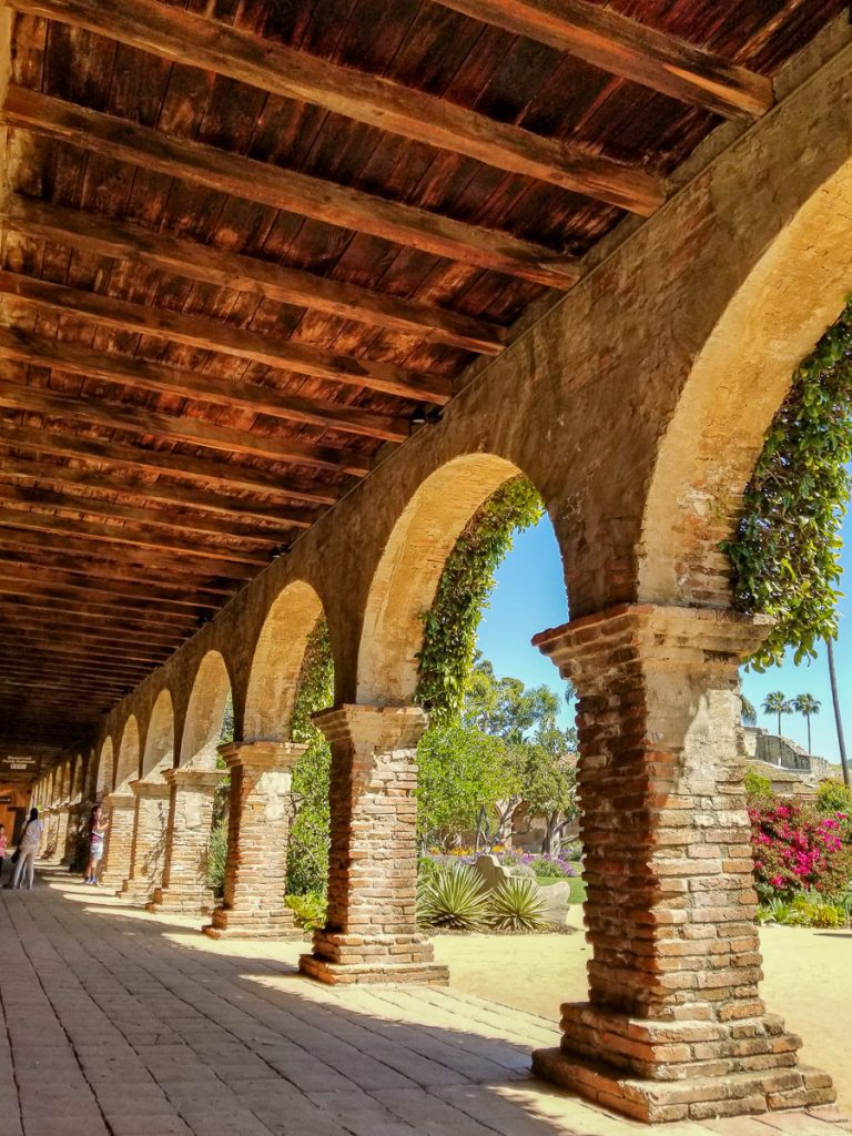 The Spanish architecture inside of the Mission San Juan Capistrano