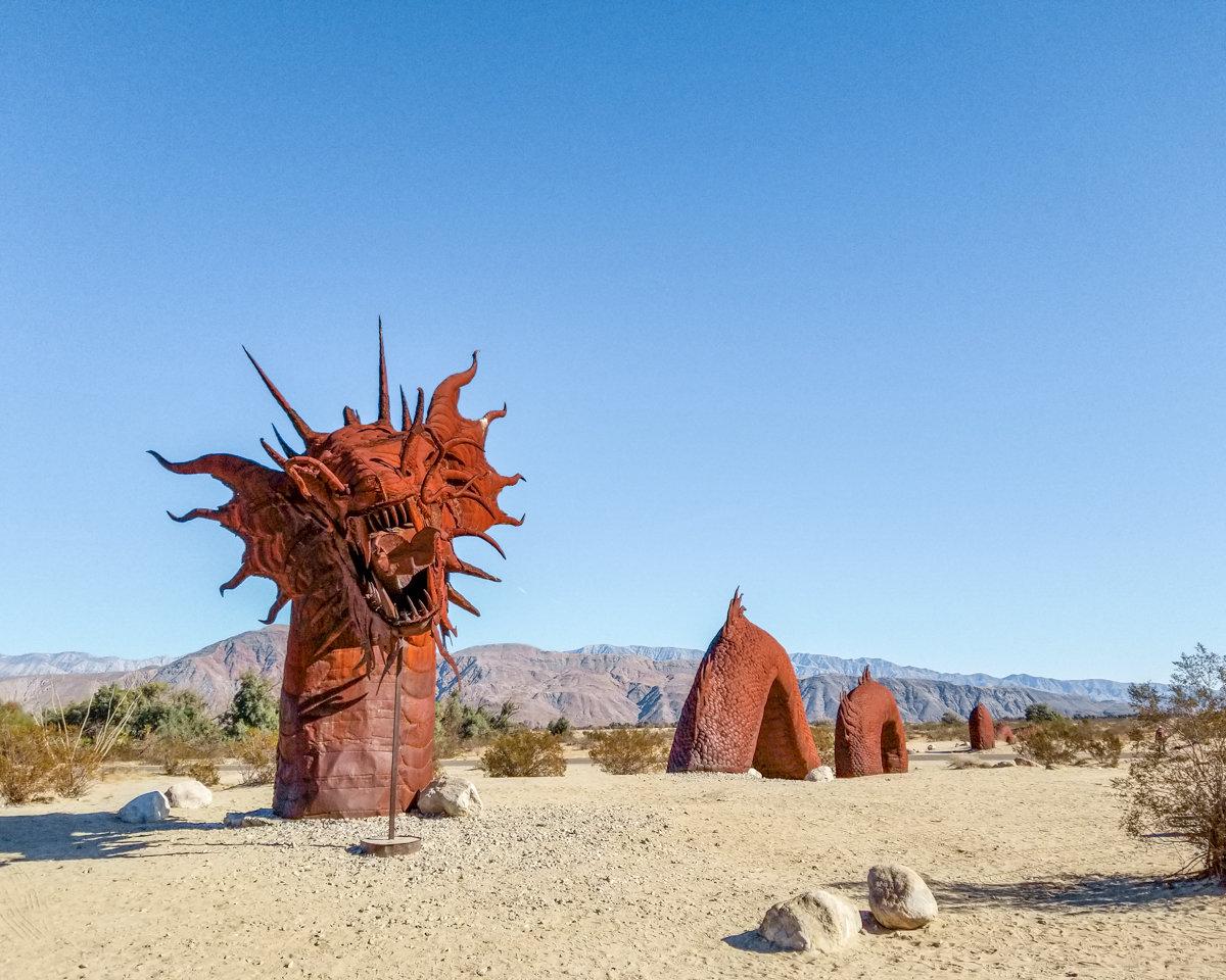 Sea Serpent metal sculpture in Borrego Springs