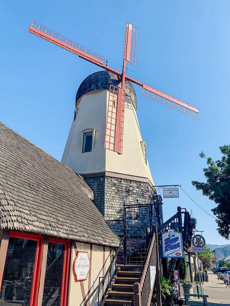 Windmill in the Danish village of Solvang, California