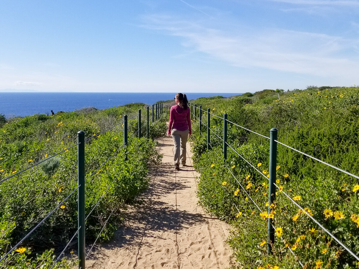 Hiking the trail at Dana Point Headlands Conservation Area