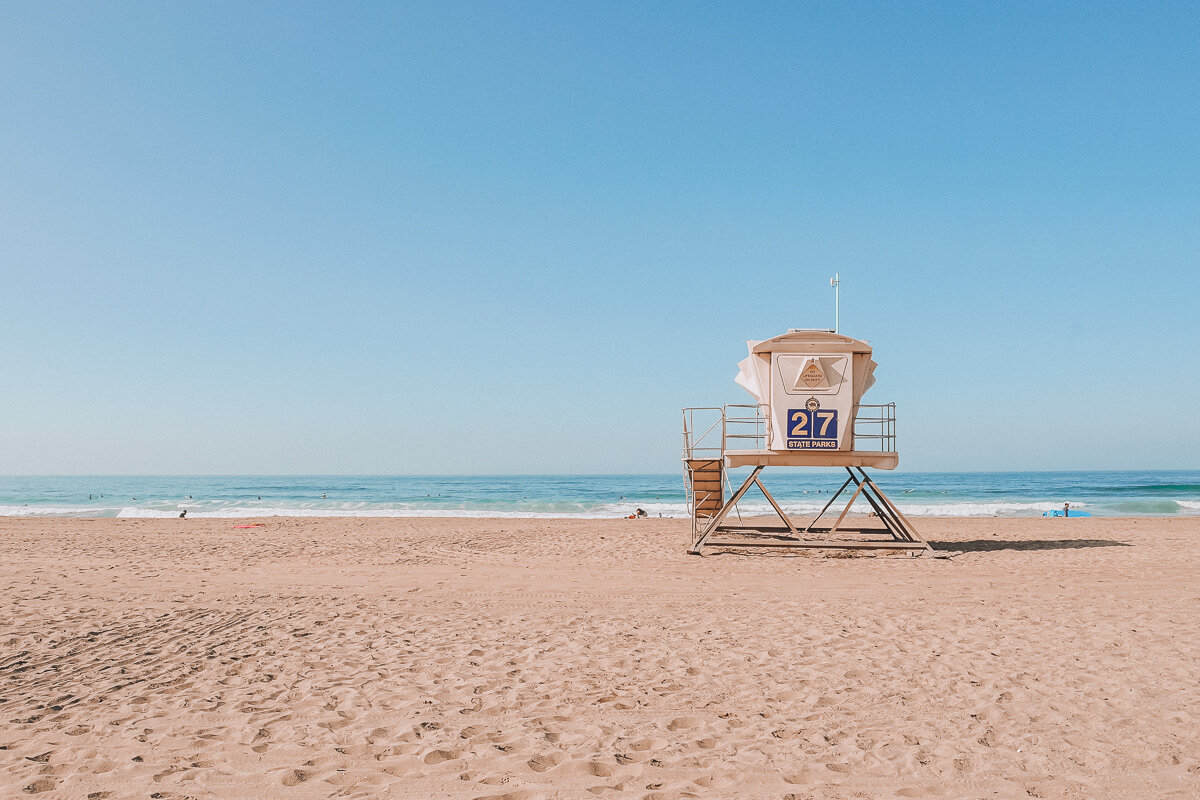 A lifeguard tower at Bolsa Chica State Beach