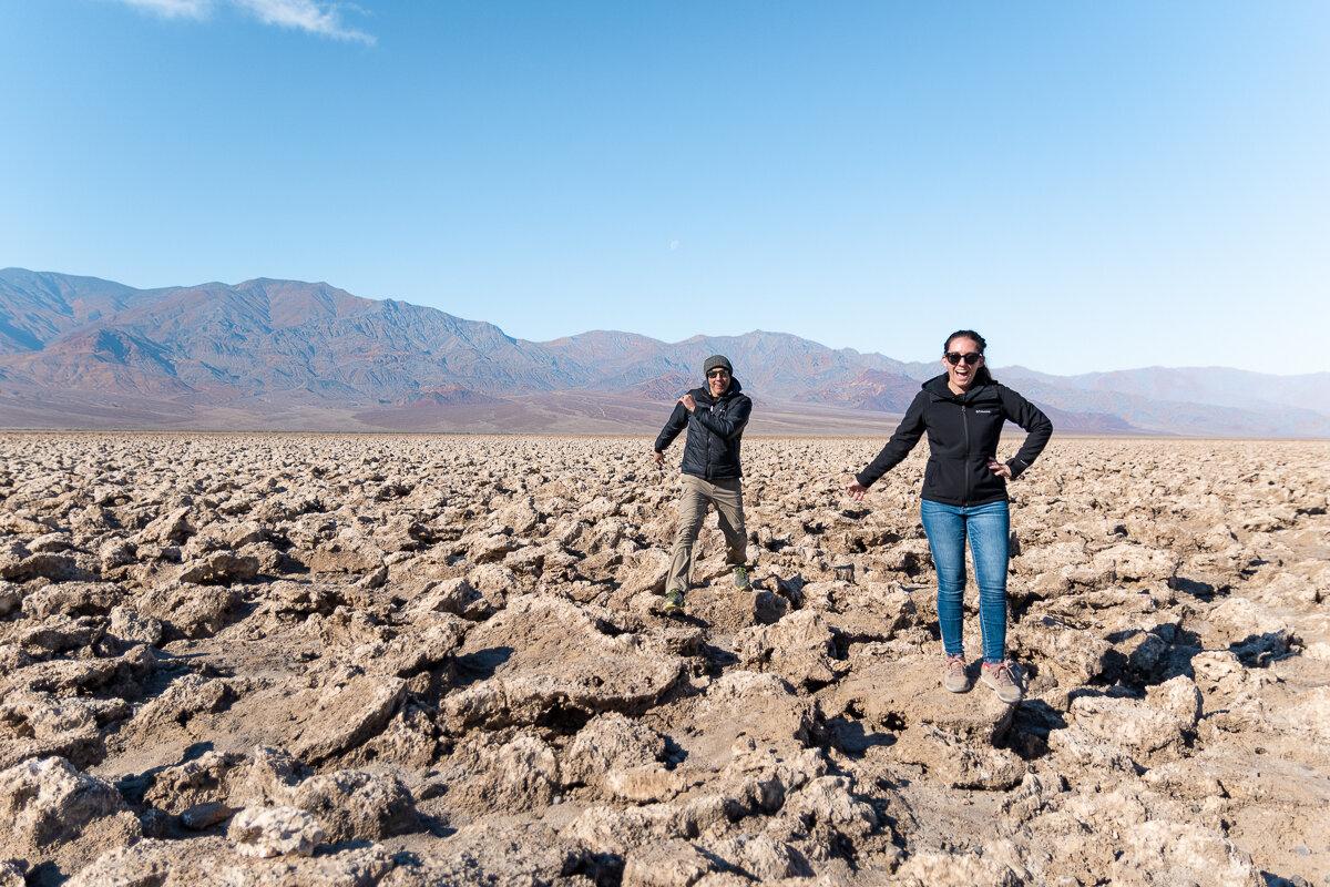 Walking through Devils Golf Course in Death Valley